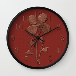Cute Copper Look Flower Red Canvas Wall Clock
