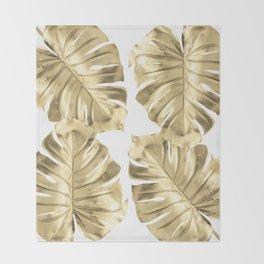 Gold Monstera Leaves on White Throw Blanket
