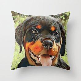 Chubby Rottweiler Puppy Throw Pillow