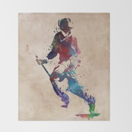 Lacrosse player art 3 Throw Blanket