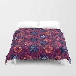 Lotus flower - fire on mulberry woodblock print style pattern Duvet Cover