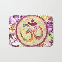 Golden OM symbol on Pastel Watercolor pattern Bath Mat