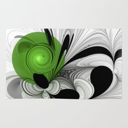 Abstract Black and White with Green Rug