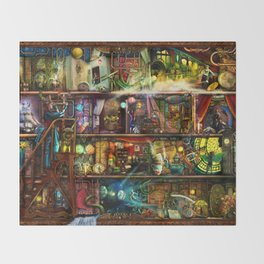 The Fantastic Voyage - a Steampunk Book Shelf Throw Blanket