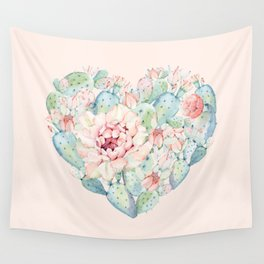 Cactus Rose Heart on Pink Wall Tapestry