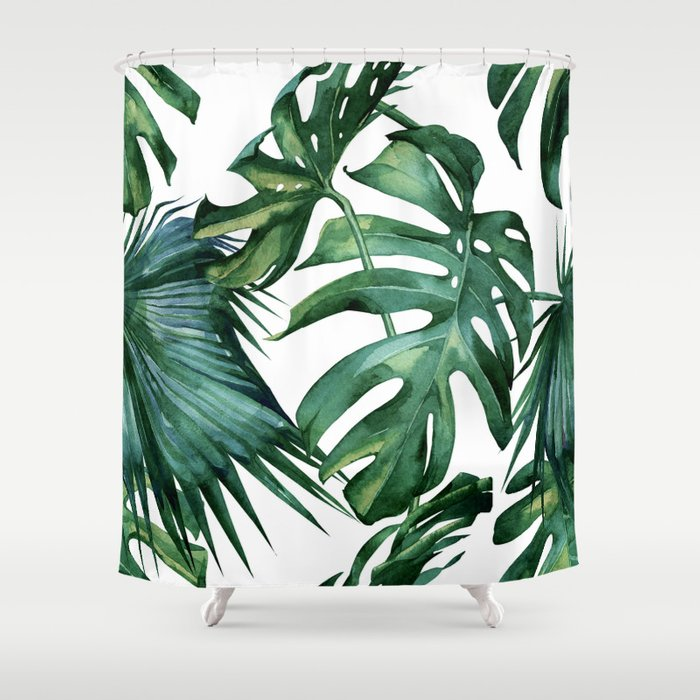 Simply Island Palm Leaves Shower Curtain by followmeinstead | Society6