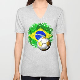 Brazil Flag Gold Green and Soccer Ball Unisex V-Neck
