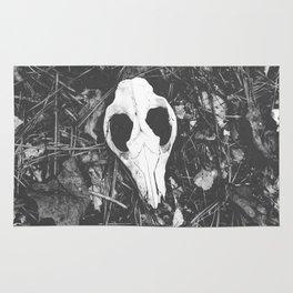 Woodland Animal Skull Black and White Photography Rug