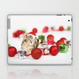 A Cute Cat Christmas Gift Box Ornaments Red Santa Hat Laptop & iPad Skin