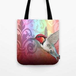 Hummingbird & Damask Watermarks Tote Bag
