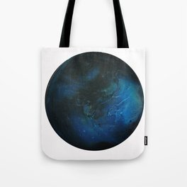 Blue Planet on White Background Tote Bag