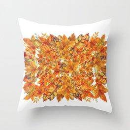 Autumn leaves - Acorn, clubs - Pine cones Throw Pillow
