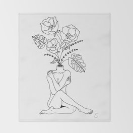 Female Form in Bloom Floral Design Throw Blanket