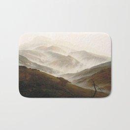 Mountain with Ascending Mist by Caspar David Friedrich Bath Mat