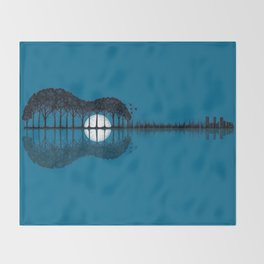 Trees sea and the moon turned guitar Throw Blanket