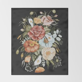 Roses and Poppies Bouquet on Charcoal Black Throw Blanket