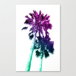 Retro Vintage Ombre Pop Art Los Angeles, Southern California Palm Tree Colored Print Canvas Print