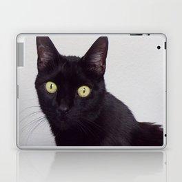 Pretty Kitty, Black Cat With Huge Green Eyes, Halloween Cat Laptop & iPad Skin