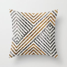 Geometric Wooden texture pattern Throw Pillow