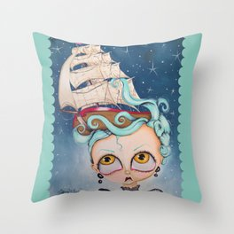 A Ship at Sea is Sure to Flee Throw Pillow