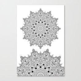 Stars and Stripes - Patriotic Mandala - Black and White - 'Merica! Canvas Print