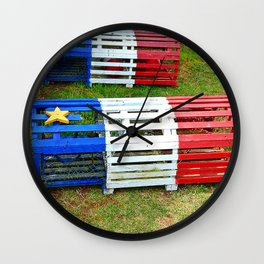 Acadian Lobster Traps Wall Clock