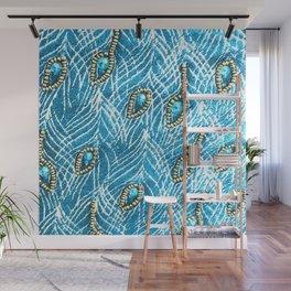 Peacock Feathers in Glamorous Aqua-Sky Blue Diamonds Wall Mural