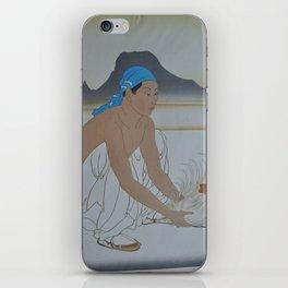 1950 Paul Jacoulet Japanese Woodblock Print Le Deux Adversaires Gauche iPhone Skin