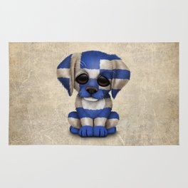 Cute Puppy Dog with flag of Greece Rug