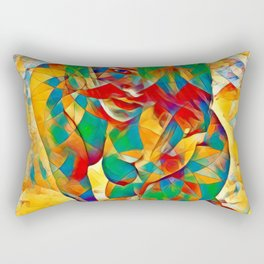 3334s-SRC Abstract Woman with Blue Eyes Rendered in Color and Style Rectangular Pillow