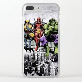Superhero Lunch Atop A Skyscraper Clear iPhone Case
