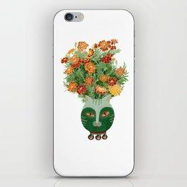 Marigolds in cat face vase  iPhone Skin