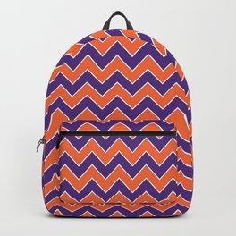 Orange and purple clemson chevron stripes university college alumni football fan gifts Backpack