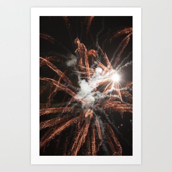 Happy New Year Gold fireworks with smoke Art Print