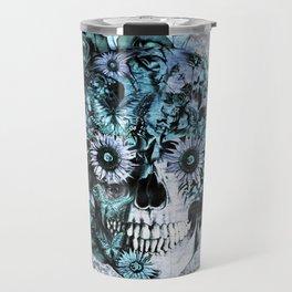 Blue grunge ohm skull Travel Mug