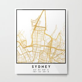 SYDNEY AUSTRALIA CITY STREET MAP ART Metal Print