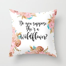 Blush and gold wildflower Throw Pillow