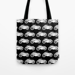 Antique Motorcycles on Black Tote Bag