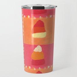 Pink and Orange Candy Corn Textile Print Travel Mug