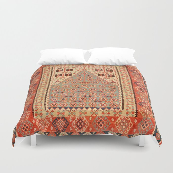 Antique Erzurum Turkish Kilim Rug Print Duvet Cover