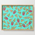 Pepperoni Pizza French Fries Foodie Watercolor Pattern by blackstrawberry