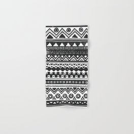 Aztec Inspired Pattern Black and White Hand & Bath Towel