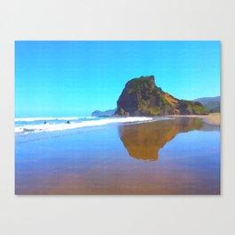 Majestic Lion Rock at famous Piha Beach on Auckland's West Coastline. Canvas Print