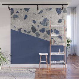 Terrazzo Texture Dark Blue #2 Wall Mural