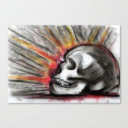 Explonsion behind skull Canvas Print
