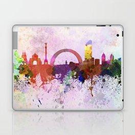 Kiev skyline in watercolor background Laptop & iPad Skin