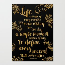 An Ember In The Ashes Quote Design in Gold Foil Canvas Print