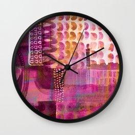 Plum Hued Abstract Wall Clock