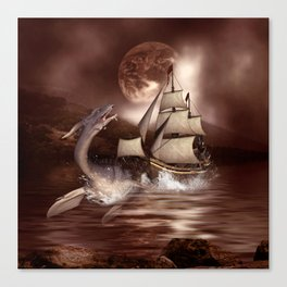 Awesome seadragon with ship Canvas Print