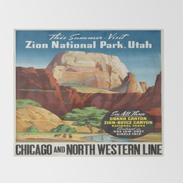 Vintage poster - Zion National Park Throw Blanket